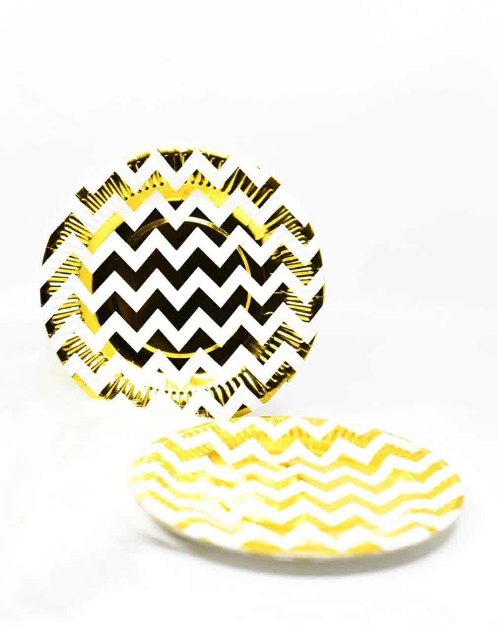Zig Zag Gold Foil Plates Set Of 10