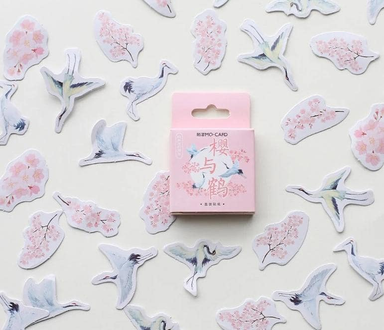 Stilt Bird Floral Stickers