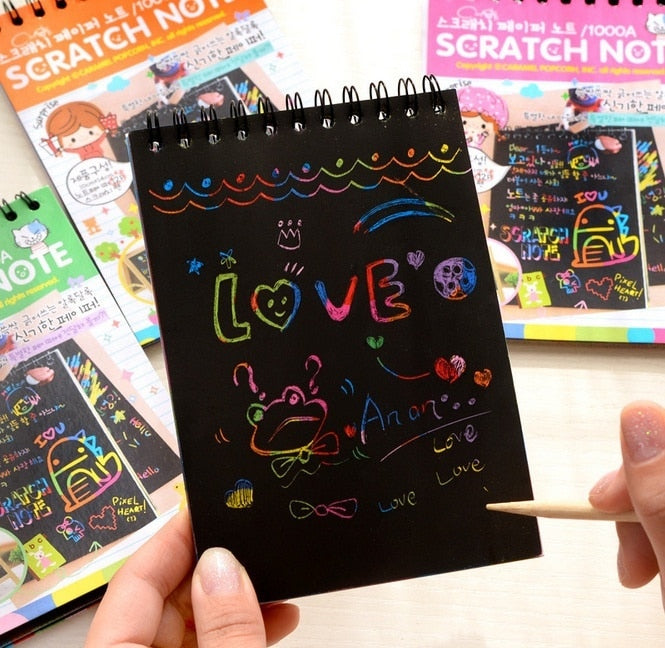 Rainbow color scratch Painting notepads