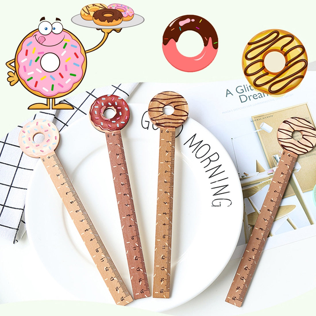 Donuts Wooden Ruler