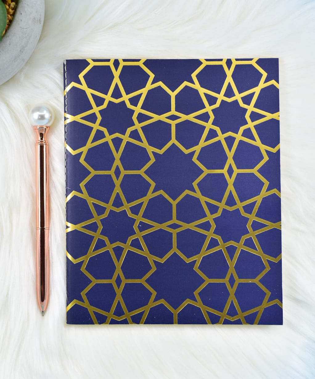 Royal Blue Arabesque Gold Foil Slim Bullet Journal