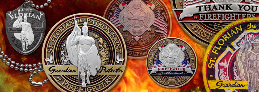 Firefighter coins and emblems