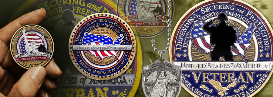 Military coins and emblems