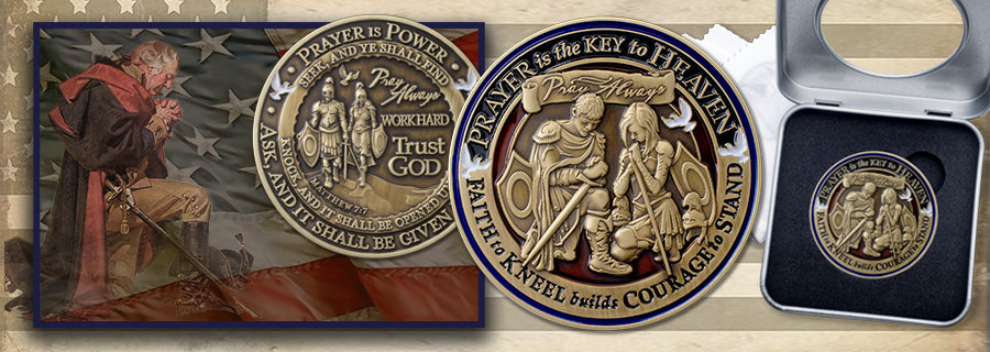 Power of Prayer Challenge coin image with Praying George Washington and American Flag