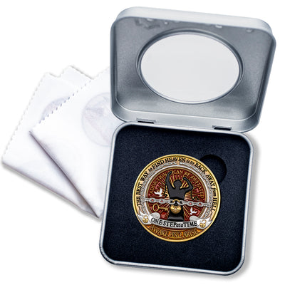 Addiction Recovery coin · Overcoming Addiction · Deluxe Display Presentation Tin box with bonus polishing cloth