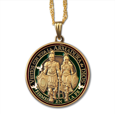 Spanish version Armor of God Round Pendant Necklace