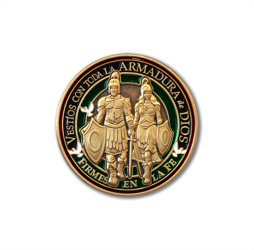 Spanish version Armor of God Collectible Round Pin