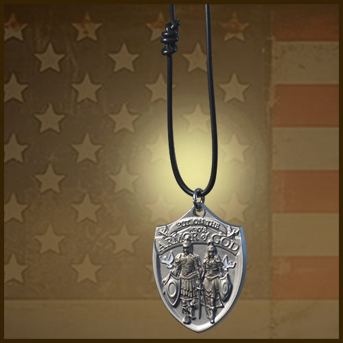 Military dog tag with USA flag backdrop