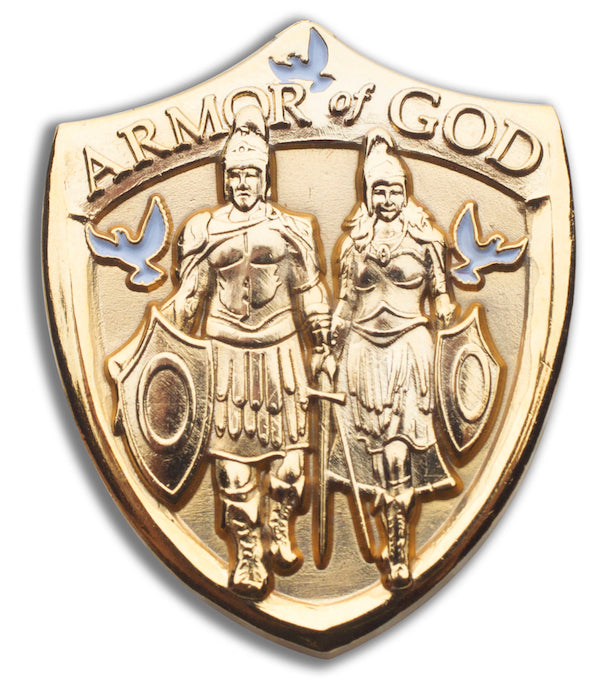 Gold Armor of God Shield pin