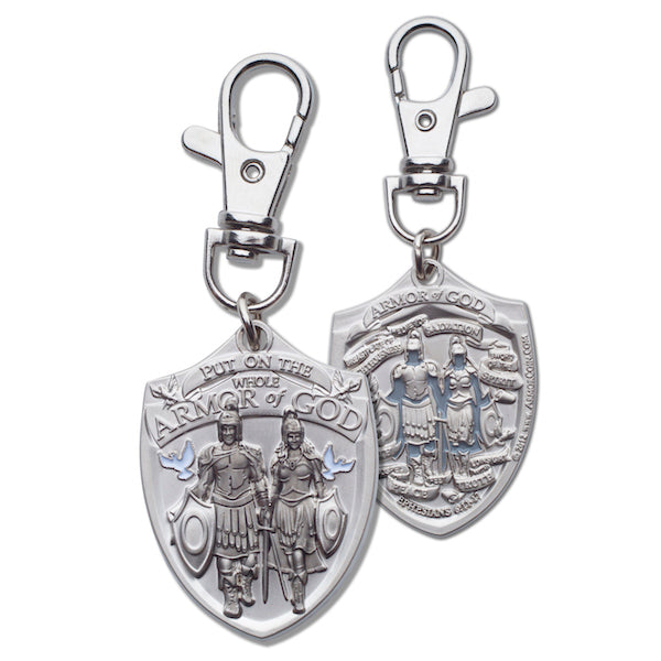 Armor of God silver zipper pull front and back
