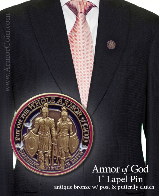 Armor of God round tie tac