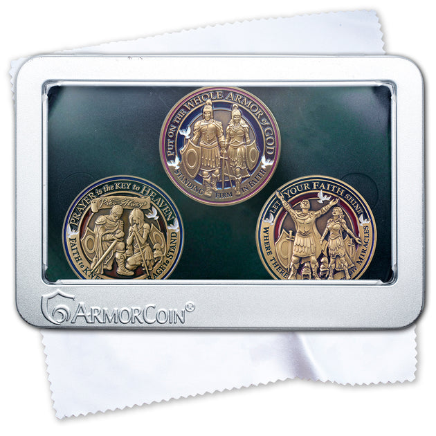 Armor of God and Prayer and Faith Challenge Coin set