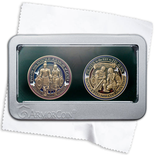 Armor of God Coin and Prayer Coin Gift Set