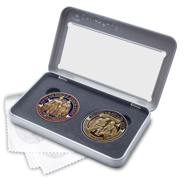 Armor of God and Prayer Challenge Coin set