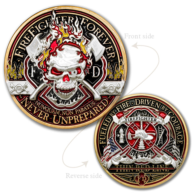 Thin Red Line Fire Fighter Forever Challenge Coin · FireFighter Skull Coin