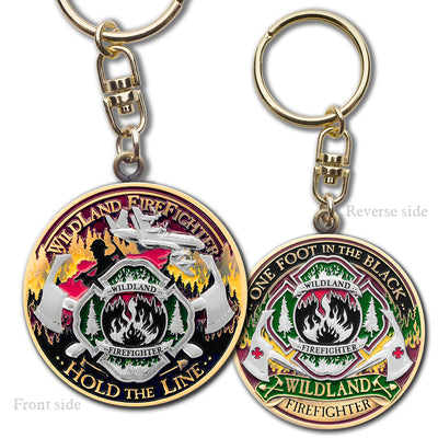 Wildland Fire Fighter Key Chain · FireFighter Hold the Line Keytag
