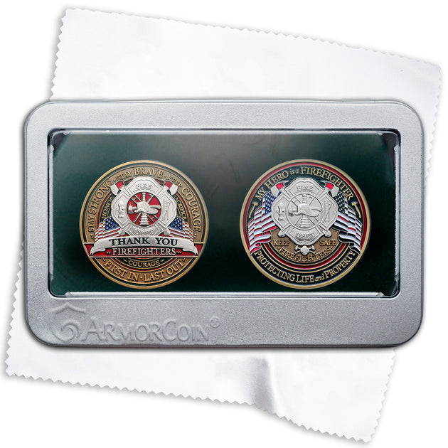Firefighter Double Coin Gift Box Set