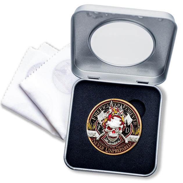 Thin Red Line Firefighter Forever Coin in Presentation Box with bonus polishing cloth