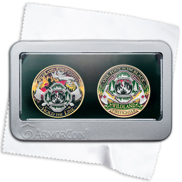 Armor Coin Wildland Firefighter Challenge Coins with Deluxe Display Tin Box Plus Bonus polishing Cloth - 2 Medallion Set