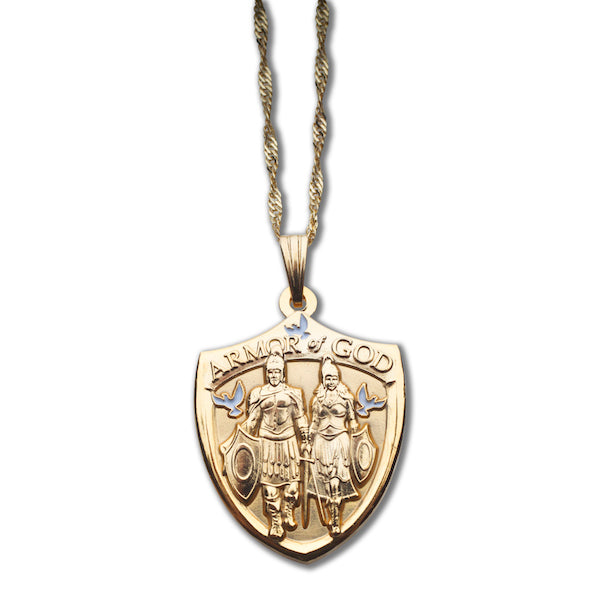 Armor God gold pendant