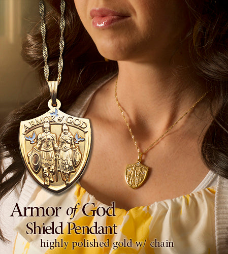 Womans gold Armor of God necklace