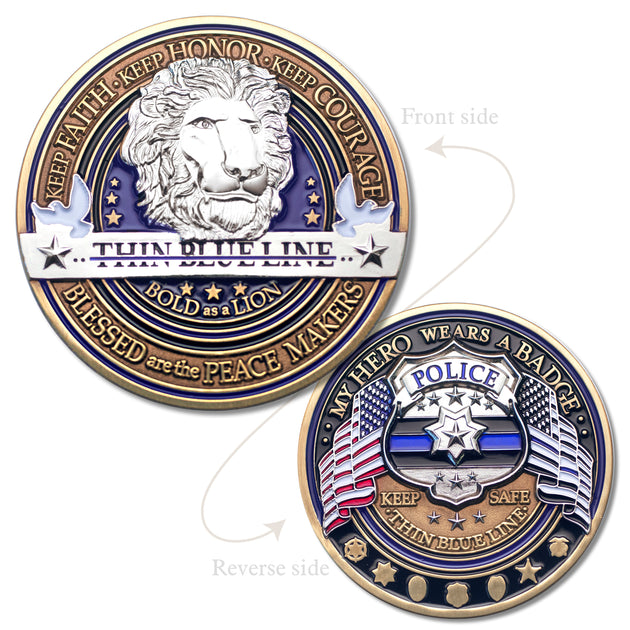 Police Thin Blue Line Logo Coin