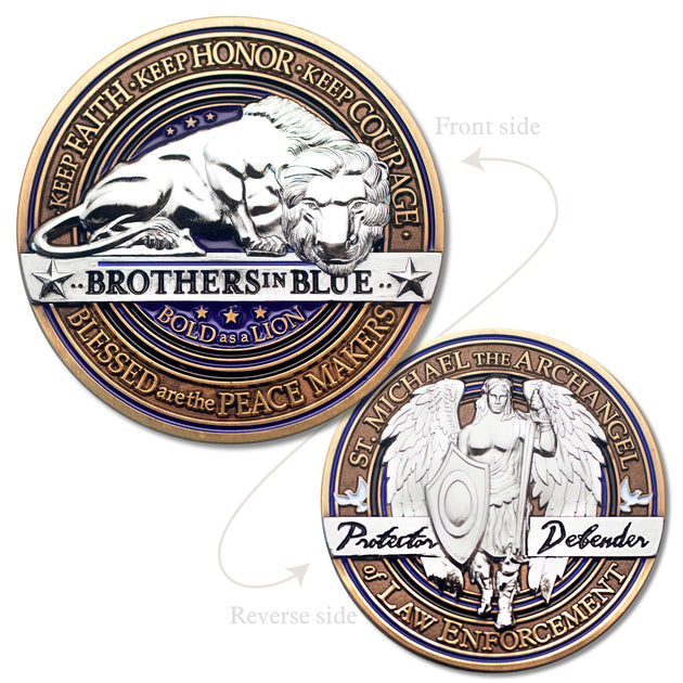 Law Enforcement Brotherhood Saint Michael Challenge Coin
