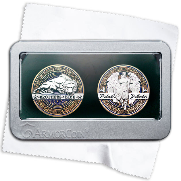 Police Saint Michael Challenge Coin Gift Box Set
