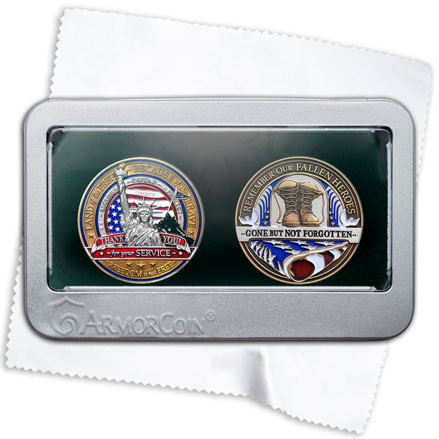 Millitary and Fallen Soldier Challenge Coin Gift set