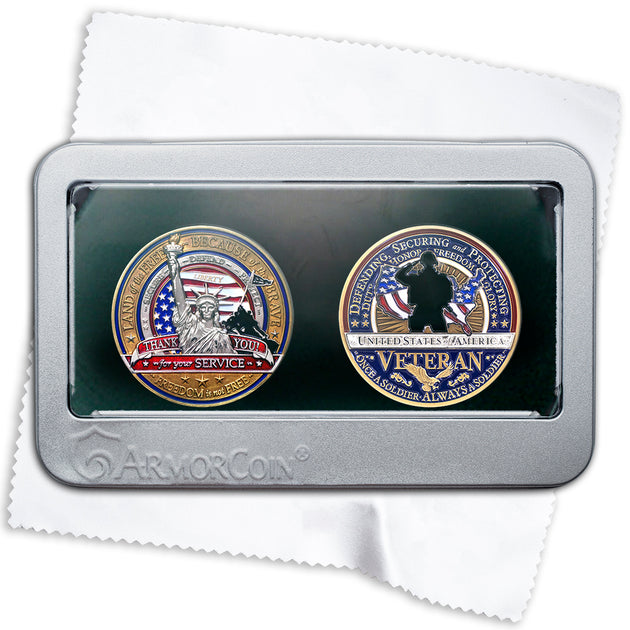 Military Appreciation and Military Veterans Double Coin Set