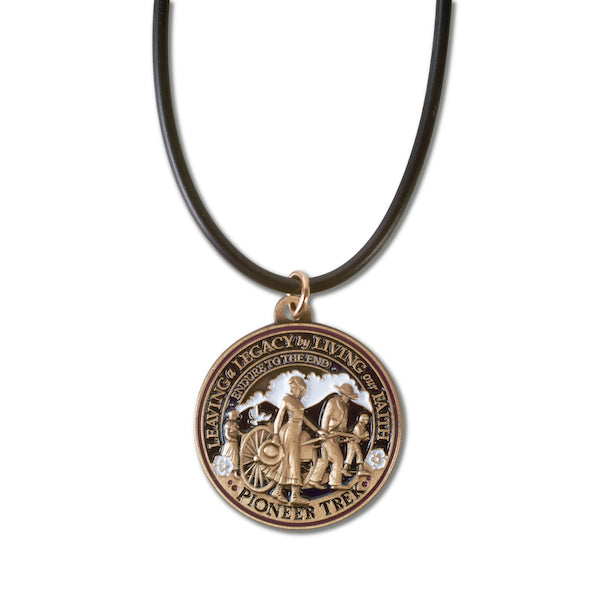 Pioneer Trek round necklace pendant with black cord