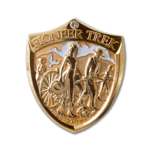 Pioneer Trek Gold Shield shaped Lapel Pin with clear stone
