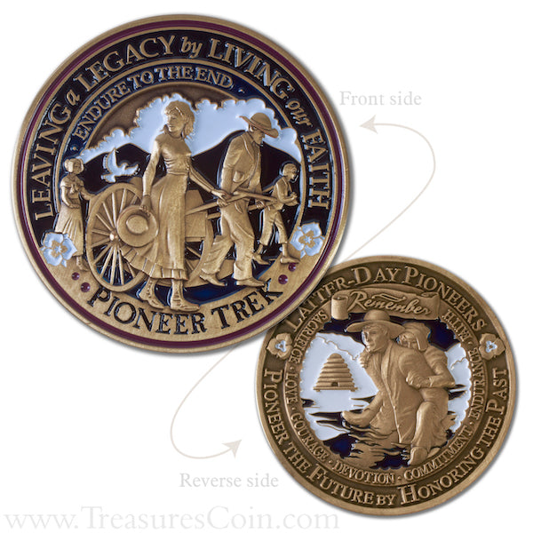 Pioneer Trek front and back side of coin