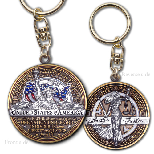 Pledge of Allegiance Justice Key Chain