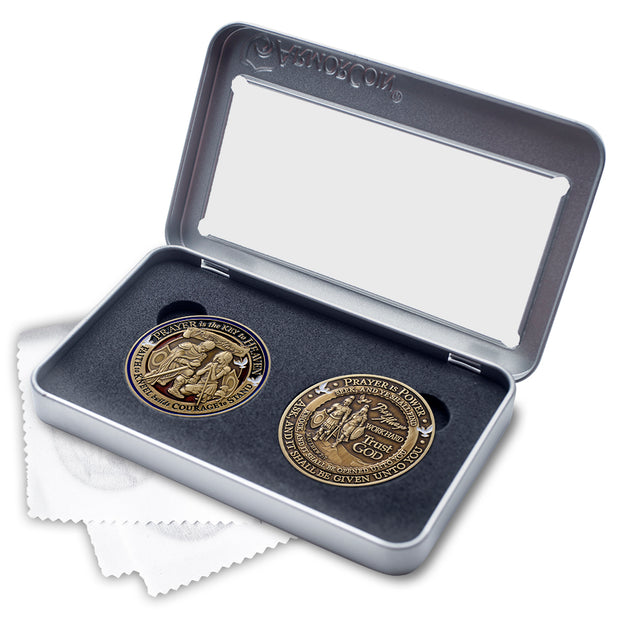 Prayer themed Challenge Coin double coin box set
