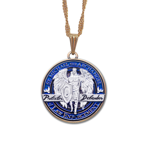 Saint Michael Round Pendant Necklace with (Gold tone) Chain