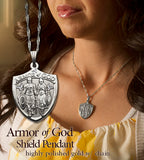 Armor of God pendant worn by a woman