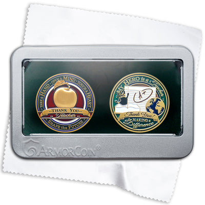 Teacher Apple and Teaching Emblems double coin gift set