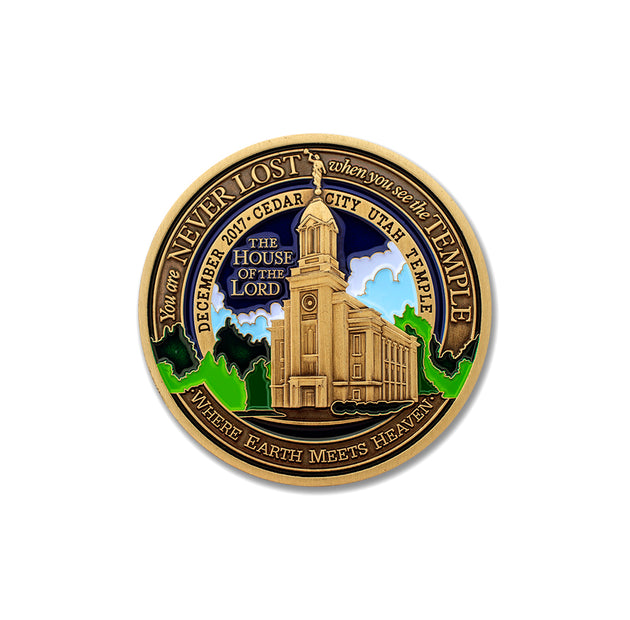 LDS Cedar City Temple Challenge Coin