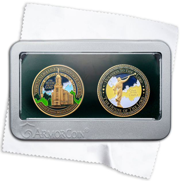 LDS Temple Cedar City Double Coin Gift Set
