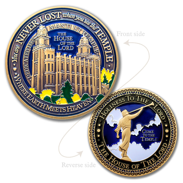 Salt Lake LDS Temple AND Manti Utah LDS Temple Medallions in Deluxe Display Tin Box - 2 coin set with bonus polishing cloth