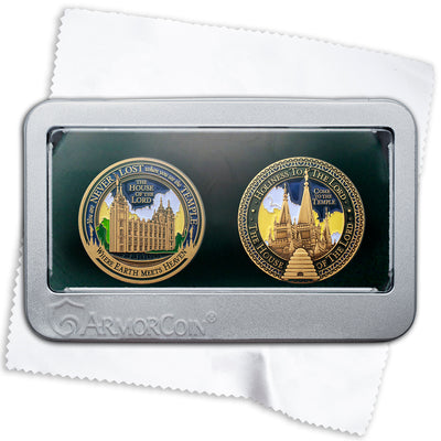 Salt Lake City Temple double gift Medallion set
