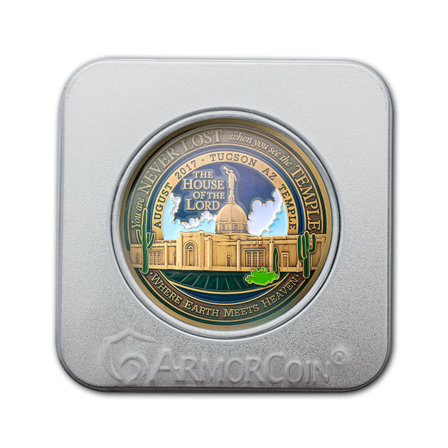 Tucson AZ Temple Gift Medallion Tin Box