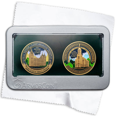 Salt Lake Temple and Cedar City Temple two Medallion set