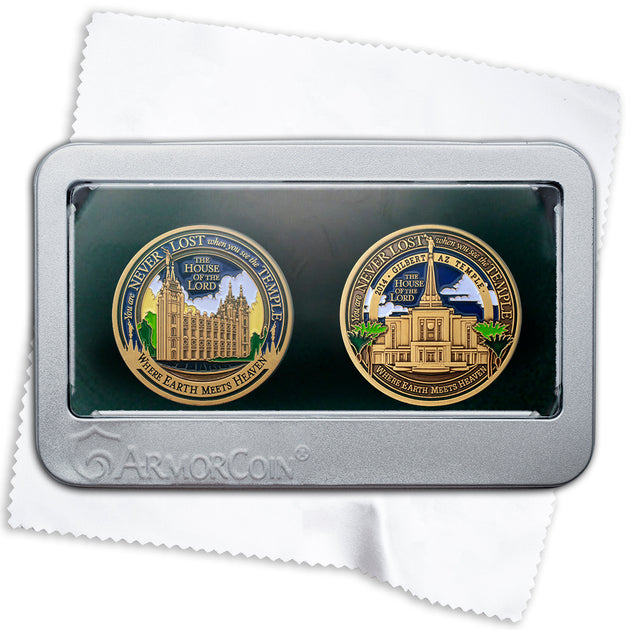 Salt Lake and Gilbert Temples double medallion gift set