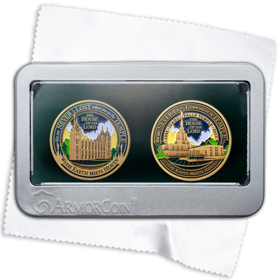 Salt Lake and Idaho Falls Temples two medallion gift set