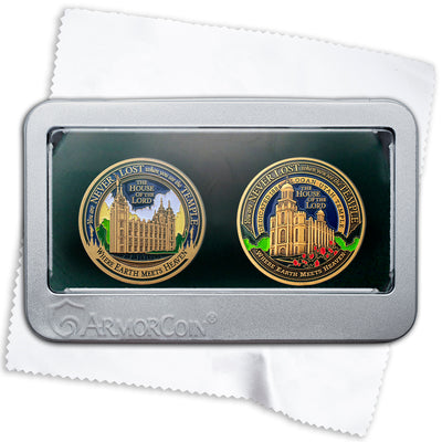 Salt Lake Temple and Logan Temple medallion gift set