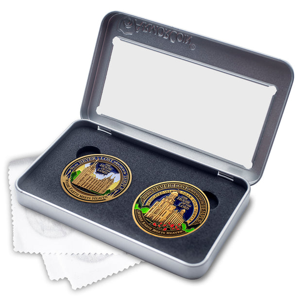 Salt Lake and Logan Temples two medallion gift set