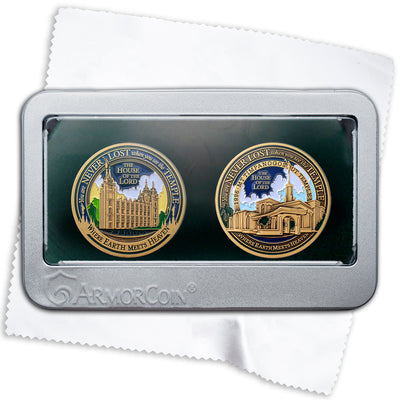 Salt Lake and Mount Timpanogos Temples two medallions gift set