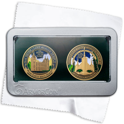 Salt Lake Temple and Portland Oregon Temples double medallion gift set